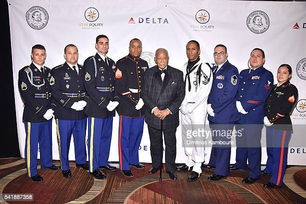 Former mayor of New York David Dinkins and Armed Forces attend as the Friars Club Honors Tony Bennett With The Entertainment Icon Award Arrivals at...