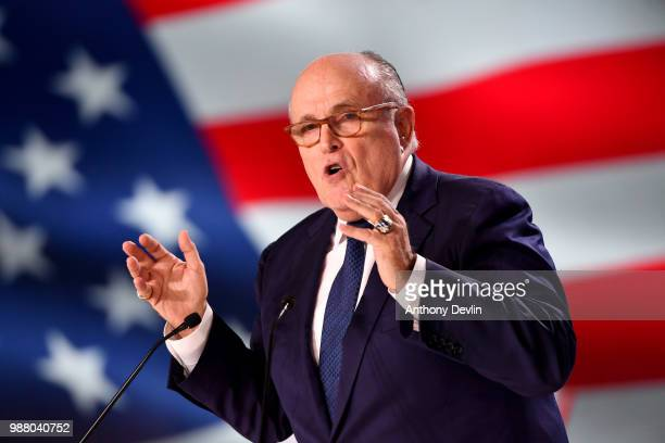Former Mayor of New York Rudolph Giuliani speaks during the Conference In Support Of Freedom and Democracy In Iran on June 30 2018 in Paris France...