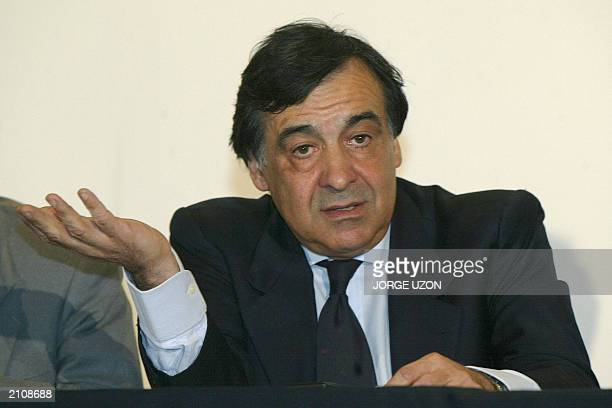 Former mayor of Palermo Sicily Leoluca Orlando speaks during a press conference after signing a cooperation agreement with Mexico City's authorities...