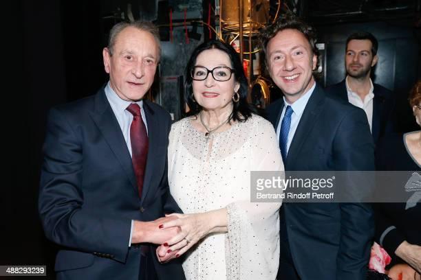 Former Mayor of Paris Bertrand Delanoe singer Nana Mouskouri and Stephane Bern pose after Nana Mouskouri perfomed on her Happy Birthday Tour Held at...