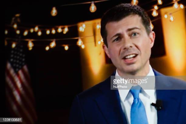 Former Mayor of South Bend Pete Buttigieg addresses the virtual 2020 Democratic National Convention, livestreamed online and viewed by laptop from...
