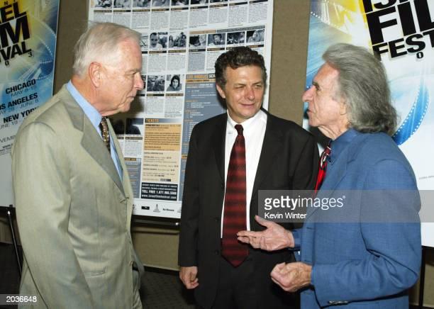 Former mayor Richard Riordan founder/exec director Meir Fenigstein and AMPAS president Arthur Hiller talk at the 19th Israel Film Festival at the...