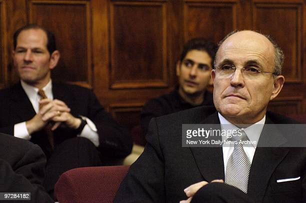 Former Mayor Rudy Giuliani attends to proceedings at Manhattan Supreme Court, where he was one of a group of celebrities - all called for jury duty...