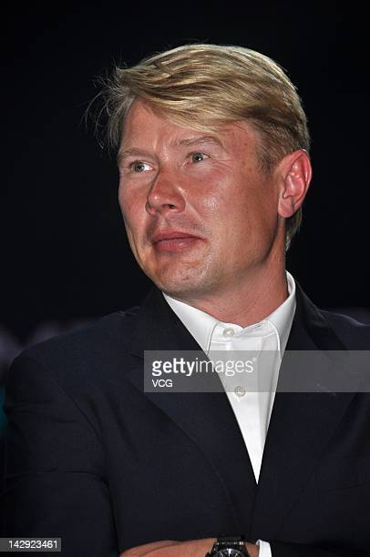 Former McLaren F1 World Champion Mika Hakkinen attends the MercedesBenz C63 AMG launch at Shanghai World Expo Park on April 14 2012 in Shanghai China