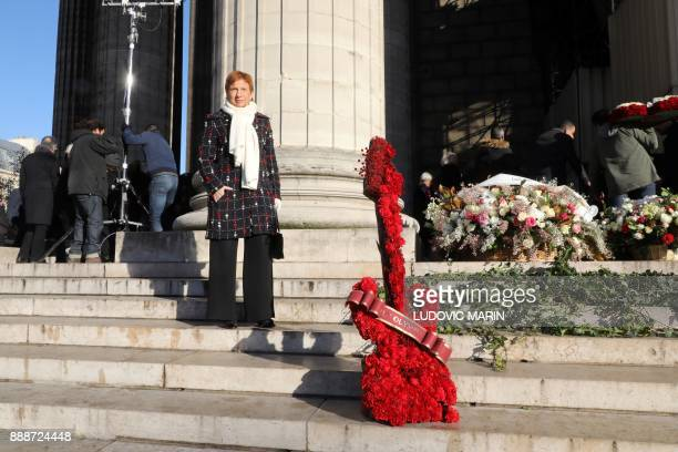Former Medef head and IFOP Vice President Laurence Parisot stands outside the La Madeleine Church prior to the funeral ceremony in tribute to late...