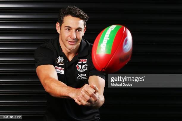 Former Melbourne Storm player Billy Slater handballs the ball during a St Kilda Saints AFL media opportunity on October 11 2018 in Melbourne...