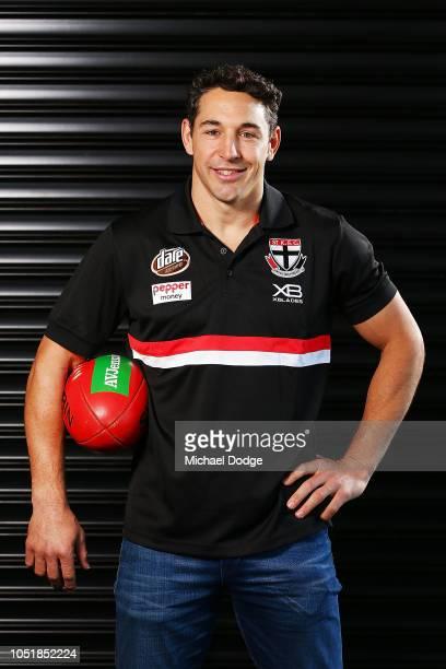 Former Melbourne Storm player Billy Slater poses during a St Kilda Saints AFL media opportunity on October 11 2018 in Melbourne Australia Billy...