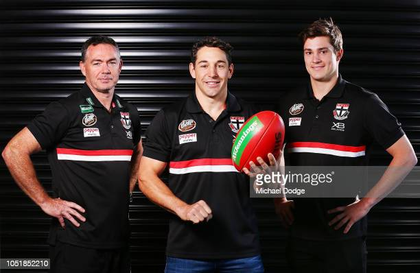 Former Melbourne Storm player Billy Slater poses with Saints head coach Alan Richardson and Jack Steele of the Saints during a St Kilda Saints AFL...
