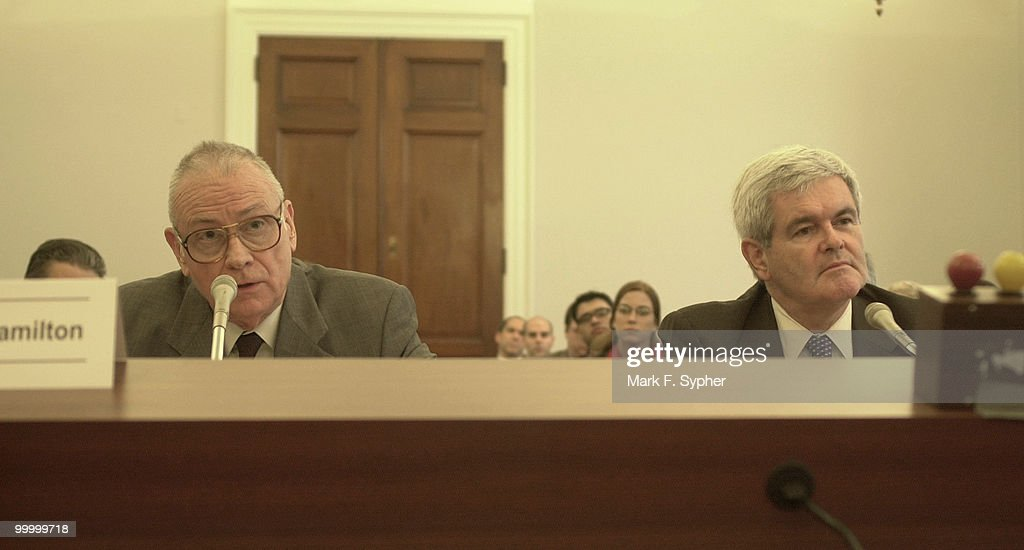Former member, Lee H. Hamiton, and former speaker, Newt Gingrich, testify before the House Budget Committee on Wednesday. Tention loomed in the air as neither the longterm budget, nor preparedness for future terrorist attacks appeared well planned.
