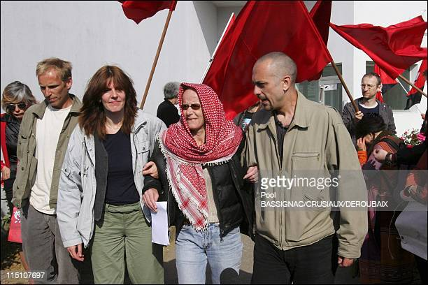 Former member of French terrorist group Action Directe Joelle Aubron released from Bapaume prison in Bapaume France on June 16 2004 Pictured here...