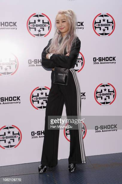"""Former member of girl group SISTAR, Hyolyn aka Hyorin attends the photocall for G-SHOCK 35th Anniversary """"Shock The World"""" Seoul on October 14, 2018..."""