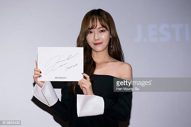 Former member of Girl's Generation Jessica Jung attends the autograph session for J.ESTINA RED at the Lotte Cinema on September 28, 2016 in Seoul,...