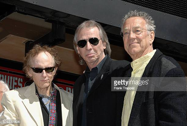 Former member of rock band The Doors Robbie Krieger Jim Ladd and Ray Manzarek at the ceremony honoring The Doors on the Hollywood Walk of Fame
