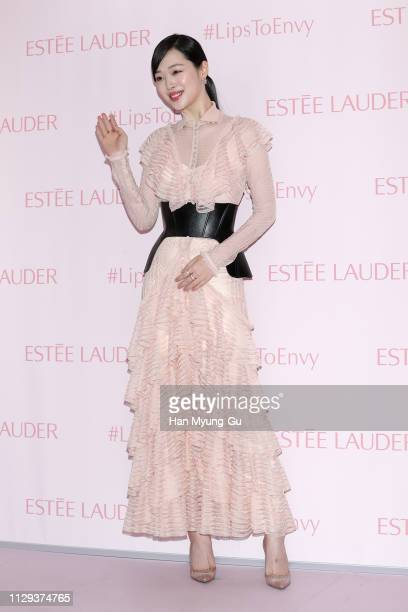 Former member of South Korean girl group f Sulli attends the photocall for 'Estee Lauder' Popup Store Opening on February 13 2019 in Seoul South Korea
