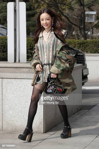 Former member of South Korean girl group KARA Hara attends the photo call for 'Marc Jacobs' at Galleria Department Store on March 24 2017 in Seoul...