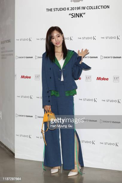 Former member of South Korean girl group Tara Eunjung attends the 'The Studio K' 2019 FW Collection Photocall on March 21 2019 in Seoul South Korea