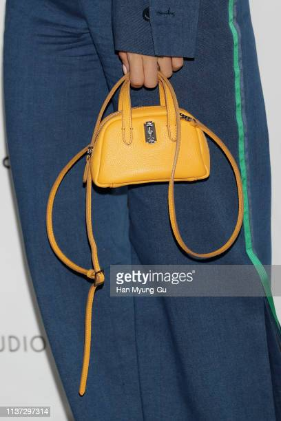 Former member of South Korean girl group Tara Eunjung bag detail attends the 'The Studio K' 2019 FW Collection Photocall on March 21 2019 in Seoul...