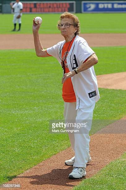 Former member of the AllAmerican Girls Professional Baseball League Sophie 'Flint Flash' Kurys throws out the ceremonial first pitch before the game...