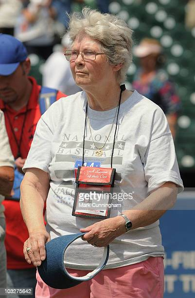 Former member of the AllAmerican Girls Professional Baseball League Jackie Baumgart looks on during a reunion ceremony before the game between the...