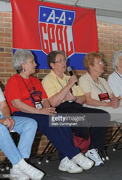 Former member of the AllAmerican Girls Professional Baseball League Dolly White speaks during a reunion QA session before the game between the...