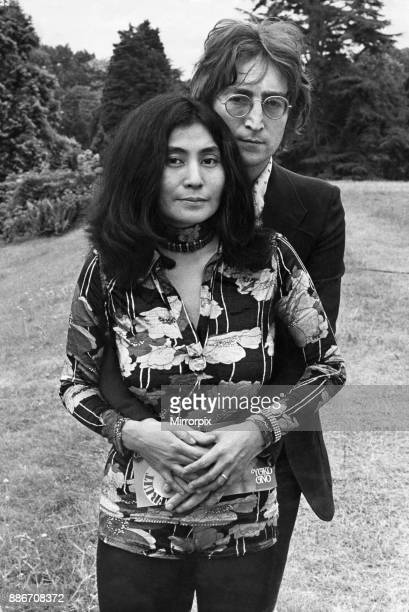 Former member of The Beatles pop group John Lennon pictured with his wife Yoko Ono at their Tittenhurst home near Ascot Berkshire shortly before they...