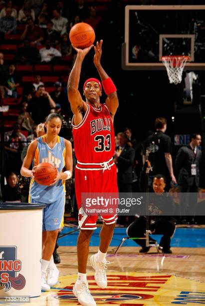 Former member of the Chicago Bulls Scottie Pippen competes in the Haier Shooting Stars at NBA AllStar Weekend on February 17 2007 at the Thomas Mack...