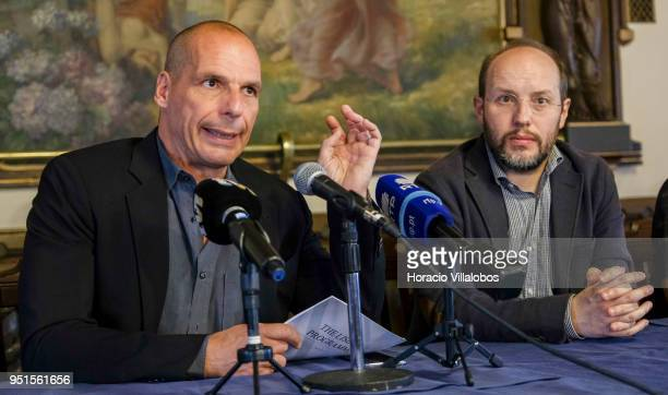 Former Member of the European Parliament Rui Tavares founder of Portuguese political party 'Livre' listens to former Greek Finance Minister Yanis...