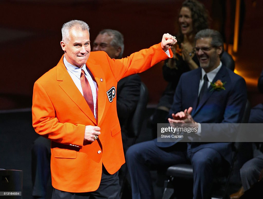 Former member of the Philadelphia Flyers Jim Watson acknowledges the crowd during his induction ceremony to the Philadelphia Flyers Hall of Fame on February 29, 2016 at the Wells Fargo Center in Philadelphia, Pennsylvania.