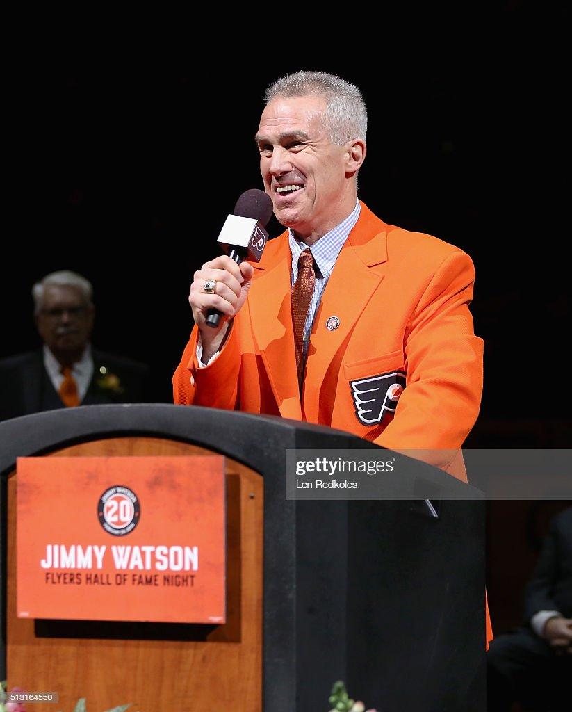 Former member of the Philadelphia Flyers Jim Watson speaks during his induction ceremony to the Philadelphia Flyers Hall of Fame on February 29, 2016 at the Wells Fargo Center in Philadelphia, Pennsylvania.