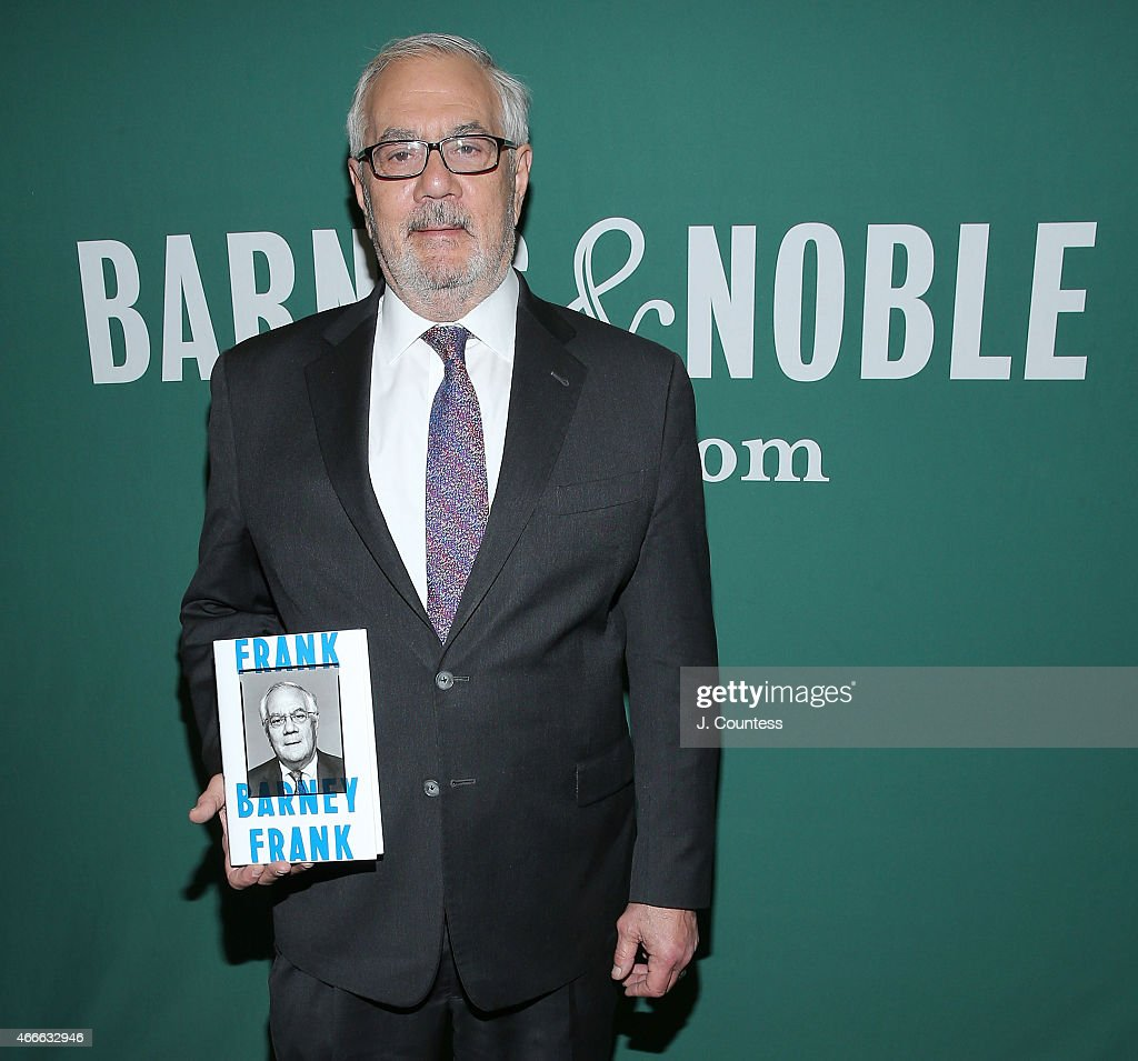 Former member of the U.S. House of Representatives Barney Frank poses for a photo with a copy of his new book 'Frank: A Life In Politics From The Great Society To Same-Sex Marriage' at a book signing at Barnes & Noble Union Square on March 17, 2015 in New York City.