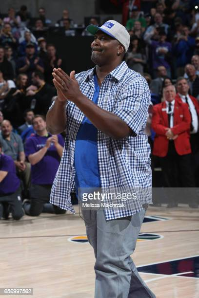 Former member of the Utah Jazz Bryon Russell is honored during halftime of the New York Knicks game against the Utah Jazz at vivintSmartHome Arena on...