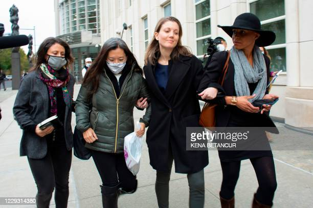 Former members of NXVIUM Linda Chung , Nicki Clyne and Michelle Hatchette leave the the New York court after Rainiere was sentenced to 120 years in...
