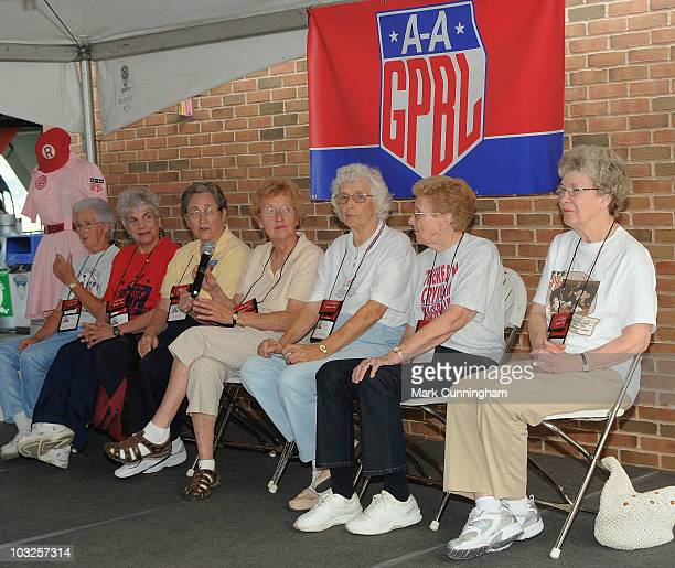 Former members of the AllAmerican Girls Professional Baseball League speak to the crowd during a QA session before the game between the Detroit...