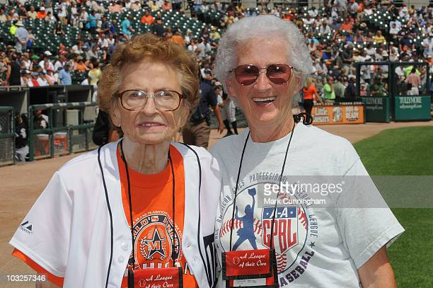 Former members of the AllAmerican Girls Professional Baseball League Sophie 'Flint Flash' Kurys and Mary 'Sis' Moore pose for a photo before the game...