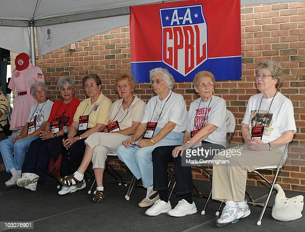 Former members of the AllAmerican Girls Professional Baseball League speak to the crowd during a reunion QA session before the game between the...