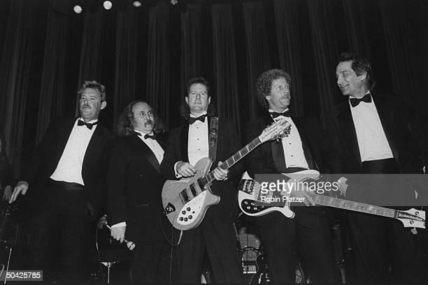 Former members of the Byrds assembled onstage Mike Clarke David Crosby Roger McGuinn Chris Hillman Gene Clark Rock Roll Hall of Fame dinner