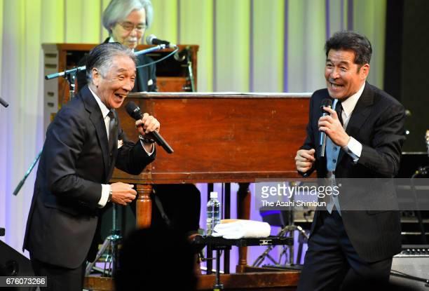Former members of the Spiders Masaaki Sakai and Jun Inoue perfrom at the farewell meeting for late musician Hiroshi Kamayatsu on May 2, 2017 in...