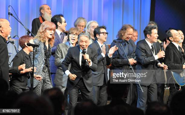 Former members of the Spiders perfrom at the farewell meeting for late musician Hiroshi Kamayatsu on May 2, 2017 in Tokyo, Japan.