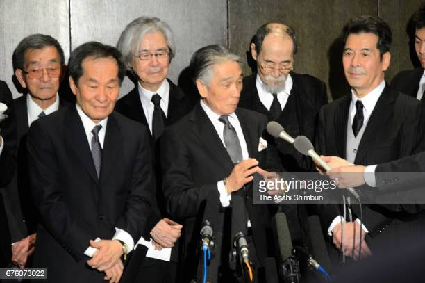 Former members of the Spiders speaks to media after the farewell meeting for late musician Hiroshi Kamayatsu on May 2, 2017 in Tokyo, Japan.