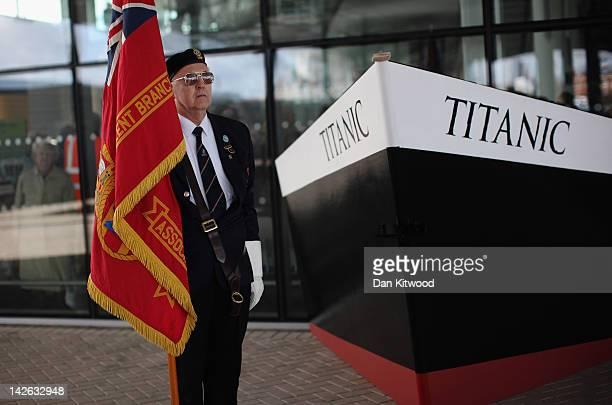 Former Merchant Navel officer Rod Burnet stands beside a replica bow of RMS Titanic beside birth 43 and 44 at Southampton Dock during a Centenary...