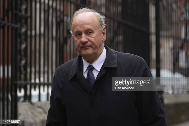 Former Metropolitan Police Commissioner Lord Stevens arrives to give evidence at the Leveson Inquiry at The Royal Courts of Justice on March 6 2012...