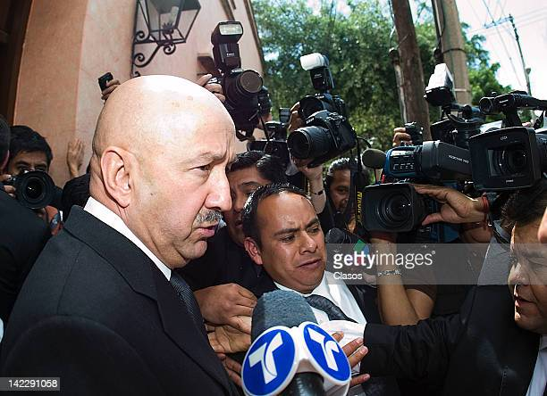 Former Mexican President Carlos Salinas de Gortari during the funeral of former President of Mexico Miguel de la Madrid in his home in Coyoacan on...