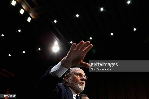 Former MF Global Chairman and CEO Jon Corzine testifies before the Senate Agriculture Nutrition and Forestry Committee about the demise and...