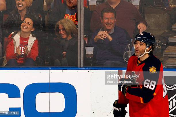 Former Miami Dolphin Quarterback Dan Marino enjoys the game with his wife Claire while the Florida Panthers host the Nashville Predators at the BBT...