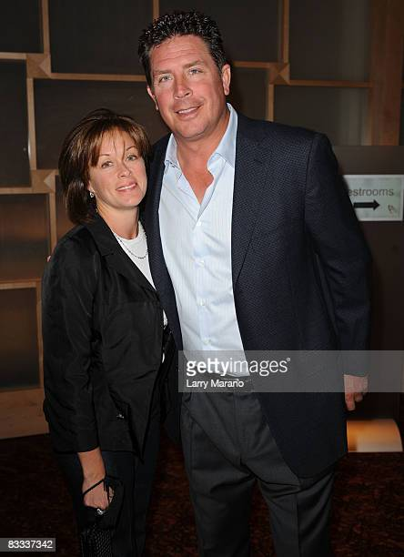 Former Miami Dolphin quaterback Dan Marino poses with his wife Claire at the 8th Annual Bubbles and Bows Gala benefitting Here's Help at Westin...