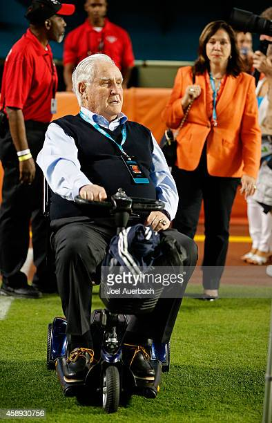 Former Miami Dolphins head coach Don Shula is shown on the field with his wife Mary Anne before the Dolphins met the Buffalo Bills in a game at Sun...