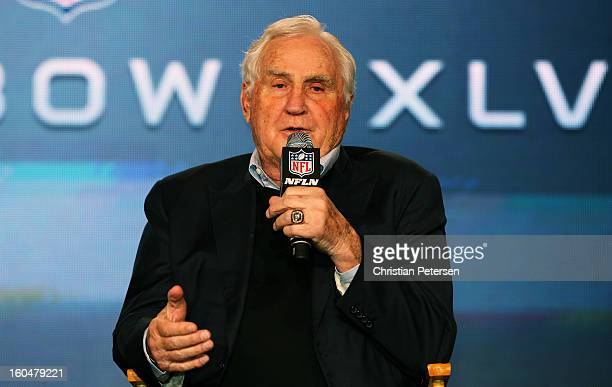 Former Miami Dolphins head coach Don Shula speaks as Head Coach Steve Specht of St Xavier High School in Cincinnati is awarded the Don Shula High...