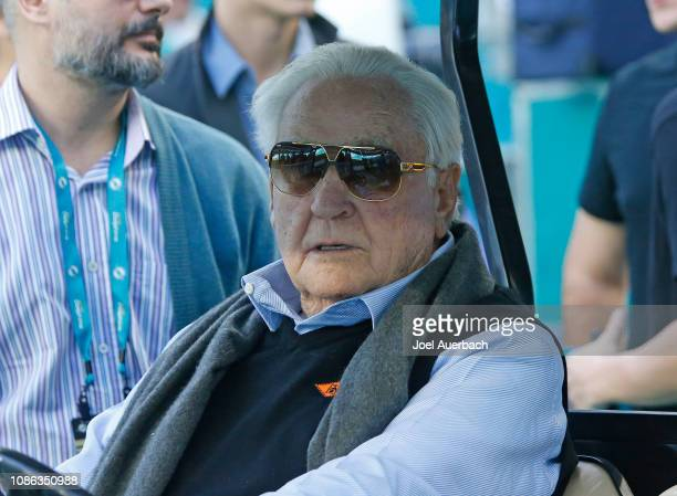 Former Miami Dolphins head coach Don Shula watches the players warm up prior to the NFL game against of the Jacksonville Jaguars on December 23 2018...