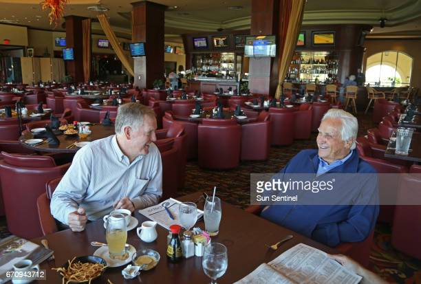Former Miami Dolphins quarterback Bob Griese left and legendary coach Don Shula get together about once a month to have lunch and watch the horses at...