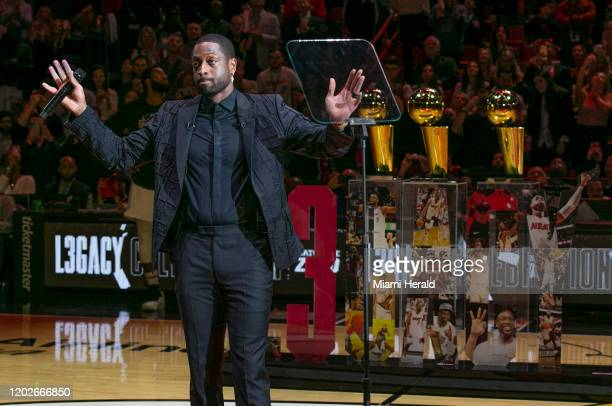 Former Miami Heat guard Dwyane Wade during a ceremony to retire his jersey No. 3 at halftime as the Heat play host to the Cleveland Cavaliers at...